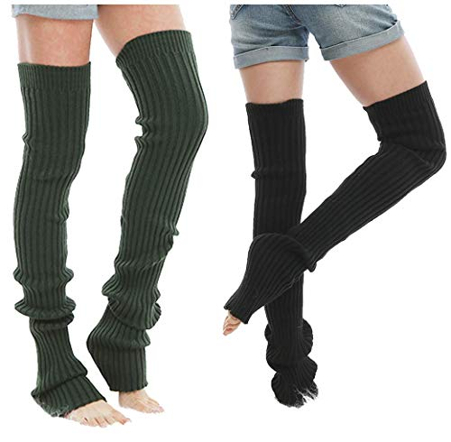 VIGVOG Women's Boho Knitted Warm Long Leg Warmers (L, ()