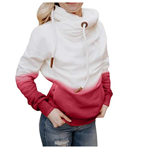 GSusan Sweat à Capuche Femme,Sweat Manches Longues Automne Hiver Casual Chaud à Contraste Solide Femmes Hoodie Sweatshirt Tops Veste Mode