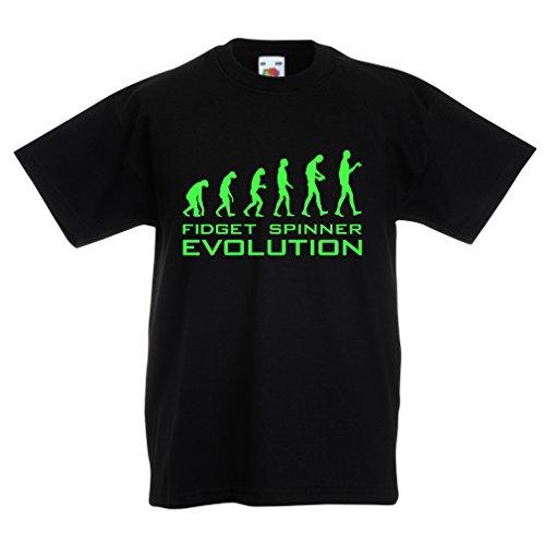 T shirts for kids Fidget Spinner Evolution - funny novelty hand spinner gift (14-15 years Black (Bouncing Balls Cool Math)