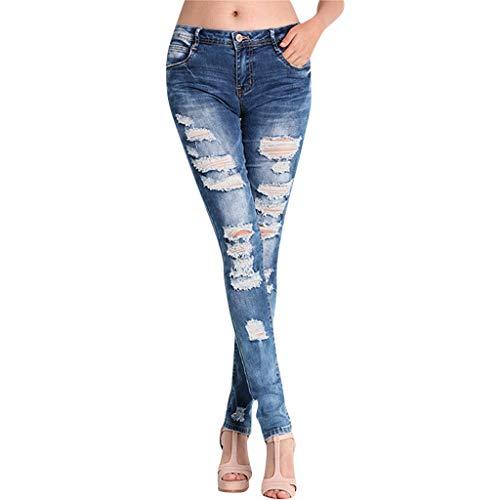 LEERYAAY Women Petite Waist Hight Waisted Long Pocket Denim Jeans Stretch Length Trousers Linen Pants Blue