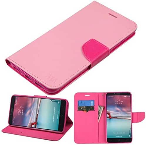 Asmyna MyJacket Wallet Case for ZTE ZMAX Pro - Pink Pattern/Hot Pink Liner