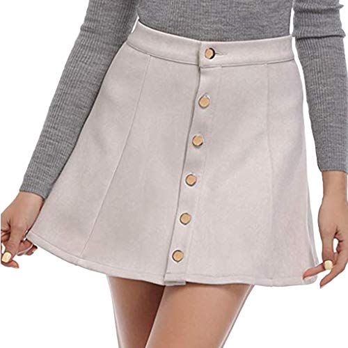 Front Dress Dotted (KASAAS Skirts Dresses for Women Solid Vintage Suedette Button Down Front High Waist Plain A-Line Short Mini Skirt(Large,White))