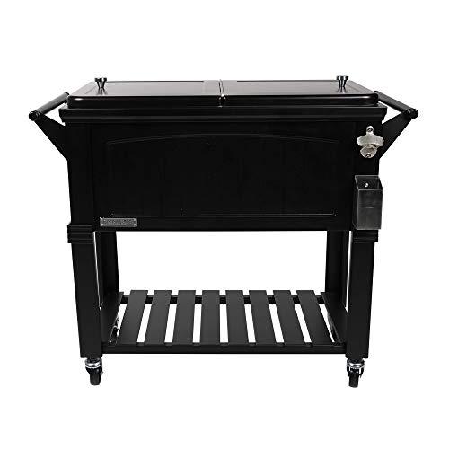 Permasteel PS-203F1-BLK-AM 80 Quart Portable Rolling Patio Cooler, Black