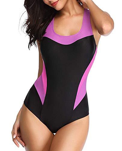 YILISA Women's Sport Pro One Piece Swimsuit Athletic Racerback Swimwear Pink XL(FBA)