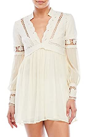 Free People Womens Dreamland Mixed Media Lace Inset Mini Dress Ivory 2