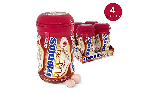 - Mentos Pure Fresh Sugar-Free Chewing Gum with Xylitol, Cinnamon, 50 Piece Bottle (Pack of 4)