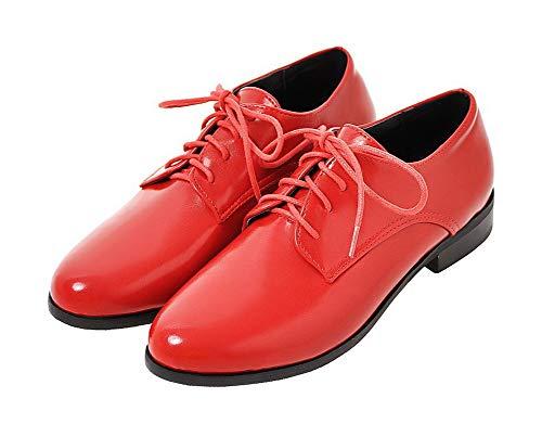 Puro Allacciare Rosso AgooLar GMMDB006903 Ballet Flats Donna Tacco Luccichio Basso 6AzBwxq5Xz