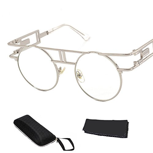 de marco sol Reflectoras al Sunglasses de Lente Steampunk de góticas aire plata Libre Hombre Gafas transparente qwOg6BC