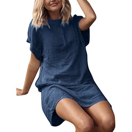 (Nihewoo Women T Shirt Dress Sundress Summer Beach Dress Short Sleeve Cotton Dress Loose Fit Short Dress Evening Party Dress Blue)