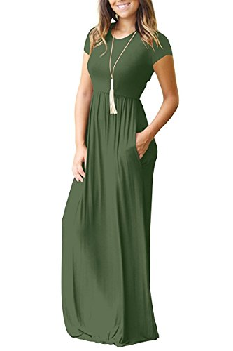 4348df2653 HAOMEILI Women s Casual Long Short Sleeve Maxi Dress with Pockets   Amazon.co.uk  Clothing