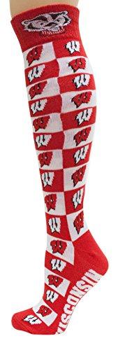 チャンス鉛幹NCAA Wisconsin BadgersユニセックスウィスコンシンCheckerboardドレスsockwisconsin Checkerboardドレス靴下、赤、1サイズ