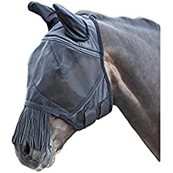 Shires Fine Mesh Fly Mask with Nose Fringe - Black - XFull