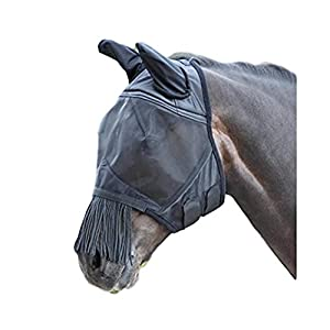 Shires Fine Mesh Fly Mask with Nose Fringe, 1