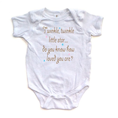 Cute Unisex Twinkle Little Star Nursery Rhyme Short Sleeve Comfy Baby Bodysuit White Newborn