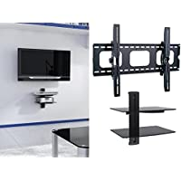 2xhome - NEW TV Wall Mount Bracket & Two (2) Double Shelf Package – Secure LED LCD Plasma Smart 3D WiFi Flat Panel Screen Monitor Monitor Display Large Displays - Flat Thin Ultra Slim Sleek