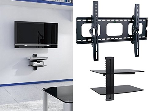 2xhome - NEW TV Wall Mount Bracket & Two (2) Double Shelf Package - Secure LED LCD Plasma Smart 3D WiFi Flat Panel Screen Monitor Monitor Display Large Displays - Flat Thin Ultra Slim Sleek
