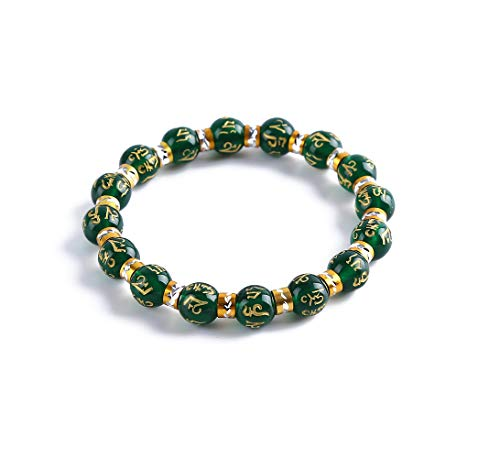 Feng Shui Water (Feng Shui Chrysoprase inscribed in Sanskrit Wealth Porsperity 10mm Bracelet, Attract Wealth and Good Luck, Deluxe Gift Box Included)