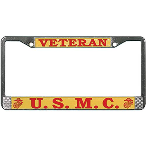 Mitchell Proffitt USMC Veteran License Plate Frame Military Gift Bundle with USMC Veteran Decal and Support Our Troops Sticker//Decal