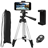 """Tripod, PEYOU 50"""" Lightweight Aluminum Camera Tripod + Universal Smartphone Holder Mount + Bluetooth Wireless Remote Control Shutter for iPhone X 8/8Plus 7/7Plus 6S Plus/6 Plus 6S/6 SE/5S/5/5C, for Samsung Galaxy S9/S9 Plus S8/S8 Plus S7/S7 Edge and More"""