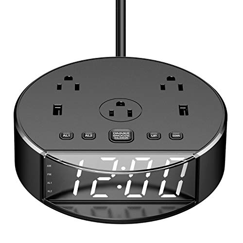 Yostyle Digital Alarm Clock with 3 AC Outlets & 2 USB Ports,USB Charging Alarm Clock with Surge Protector, 6ft Power Cord, USB Bedside Clock w/Snooze Dimmer for Bedroom Home Dorm Hotel Decor