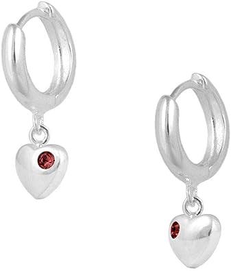 Girl Solid 925 Silver Birthstone Heart-Shape Huggie Hoop Earrings.