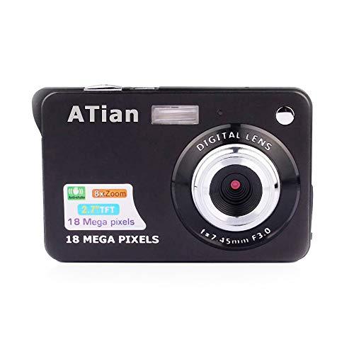 ATian 18 Mega Pixels 2.7″ 1280×720 HD LCD Rechargeable Digital Camera & Digital Video Camera for Students/Adult / Seniors/Kids (Black)