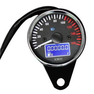 12V Motorcycle Refit Multi-function Digital Oil Meter White Pointer Speedometer + Left and Right Steering + Headlight High Beam Indicator - Motorcycle Motorcycle Engines & Component - (Black)