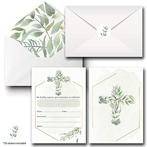 Religious Invitations - Boys or Girls - 20 Fill-in Cards with Stickers & Envelopes for Baptism, Christening, First Communion, Confirmation, 5 x 7 Inches