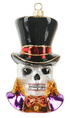 Halloween Skull Polish Glass Christmas Ornament Halloween]()