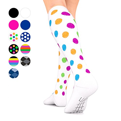 Go2Socks GO2 Compression Socks for Men Women Nurses Runners 16-22 mmHg (Medium) - Medical Stocking Maternity Travel - Best Performance Recovery Circulation Stamina - (Polka, Medium one)