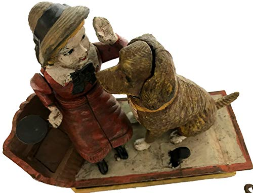 Global Art World J. E. Stevens Company 1897 Re-Creation Heavy Quality Antique Style Cast Iron Mechanical Vintage Speaking Dog Money Box Bank MB 04 by Global Art World (Image #5)
