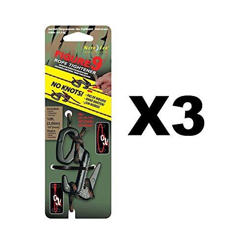 Nite Ize Figure 9 Rope Tightener Large w/ Rope Black/Camo Tie Down Tool (3-Pack)