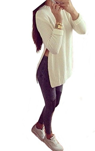 Allonly Women Round Neck Long-sleeved Long Pullover Sweater Side Split (Split Neck Sweater compare prices)