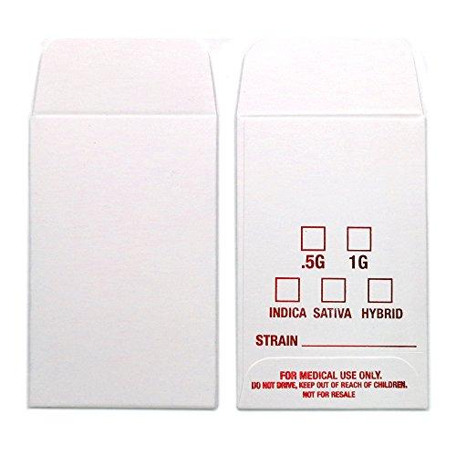 1000 White Red Shatter Labels Oil Coin Envelopes 2.25'' X 3.5'' Foil Label Version #056 by Shatter Labels
