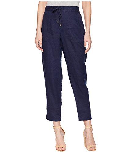LAUREN RALPH LAUREN Women's Straight Linen Pants Navy 10 28