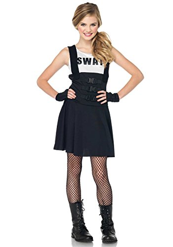 Leg Avenue Junior's 2 Piece SWAT Officer Costume, Black, (Swat Costumes For Women)