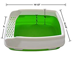 Cat Litter Box - High Sided Lid - Open Top Entry - By Two Meows, Green