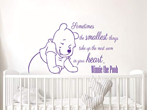 Wall Decals Quotes Vinyl Sticker Decal Quote Winnie the Pooh Sometimes the smallest things take Nursery Baby Room Kids Boys Girls Home Decor Bedroom Art Design Interior NS816