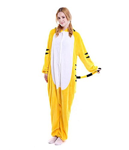 Grown Ups 2 Party Costumes (LiMeiW Unisex Adult Animal Cosplay Pajamas Onesie Halloween Role Play Flannel Pajamas (XLarge, Yellow Tiger))