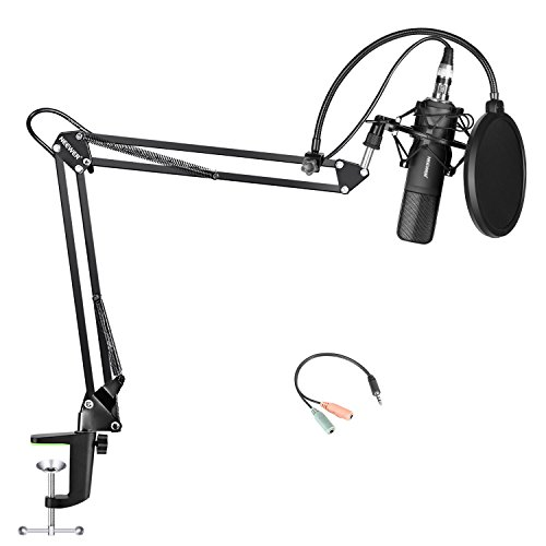 Neewer Condenser Microphone and Accessory Kit for Studio Broadcasting Recording: NW-8 Condenser Microphone, NW-35 Mic Suspension Boom Scissor Arm Stand, NW(B-3) Round Shape Pop Filter Mask Shield by Neewer