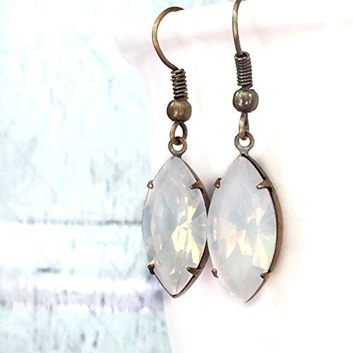 White Opalescent Vintage Rhinestone Dangle Drop
