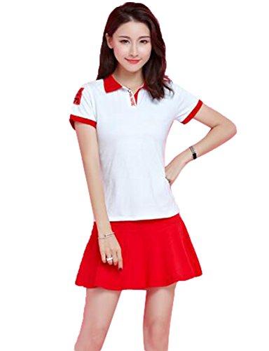 GuDeKe レディース テニスウェア 2点セット スポーツウェア ゴルフウェア スカートセット 無地 運動着 ゲームシャツ カジュアル シンプル 通気 着痩せ