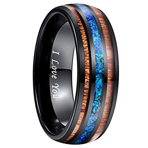NUNCAD Hawaii Koa Wood Black Tungsten Ring Blue Opal Inlay Polished Finish 8mm Size 11 ()