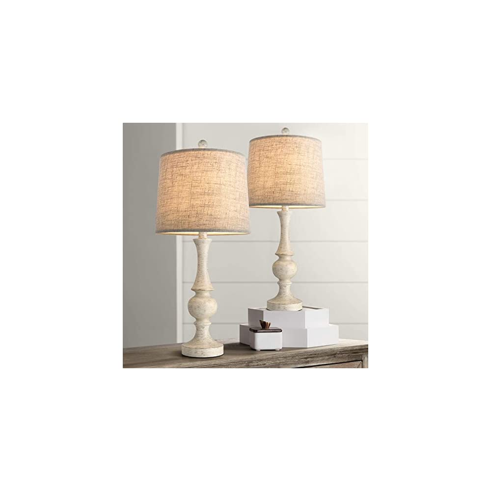 """Oneach Traditional Table Lamps Set of 2 for Living Room 24.5"""" Vintage Bedside Night Light Lamp Fabric Drum Shade for…"""