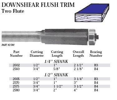 B4 Bearing - Whiteside 2575 Downshear Flush Trim Bit 3/4CD 1-1/2CL w/B4 Bearing 1/2SH 2FL