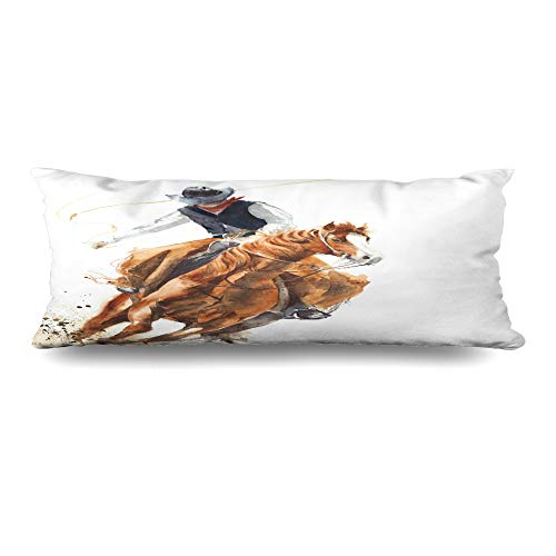Ahawoso Body Pillows Cover 20x54 Inches Style Watercolor Western Cowboy Riding Horse Ride Culture Calf Roping Rodeo Vintage Farm Decorative Cushion Case Home Decor Pillowcase