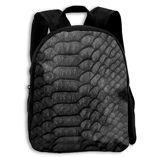 Liumong Black Scale Snake Skin Children Multi-Function Mini Casual Outdoor Travel Book Middle School Backpack 13 Laptop Computer Bag Pocket Zipper