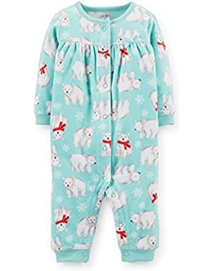 Baby Girl's L/S Fleece Polar Bear Jumpsuit (9M)