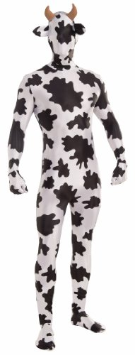 Forum Novelties Men's Disappearing Man Patterned Stretch Body Suit Costume Spotted Cow- Large, White/Brown, (Body Suit Costume)