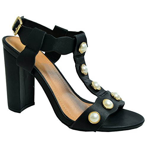 mujer negro tacón Zapatos Cucu con Fashion UxTAwYTOq